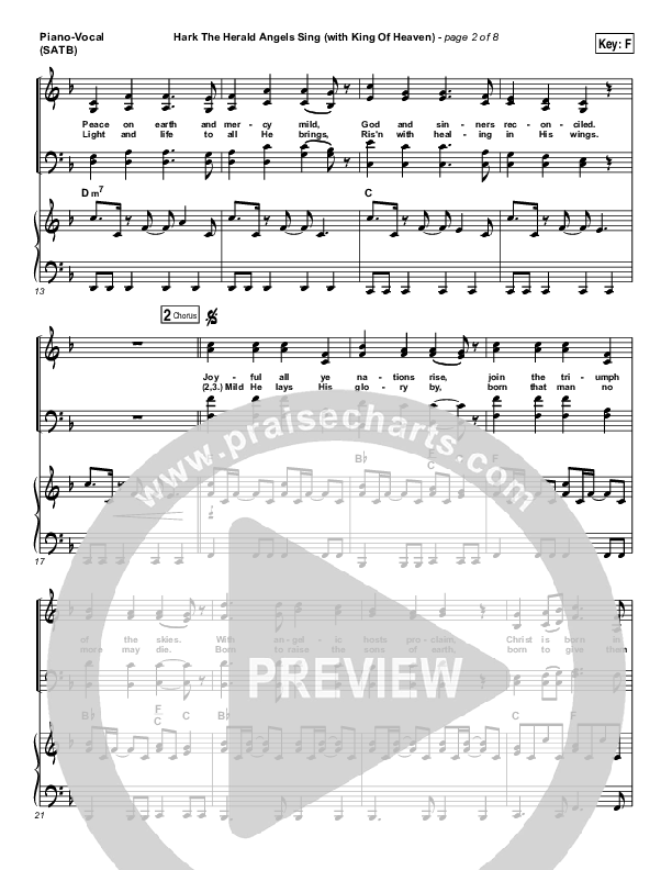 Hark The Herald (with King Of Heaven) Piano/Vocal (SATB) (Paul Baloche)