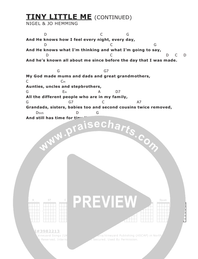 Tiny Little Me Chord Chart (Vineyard UK)