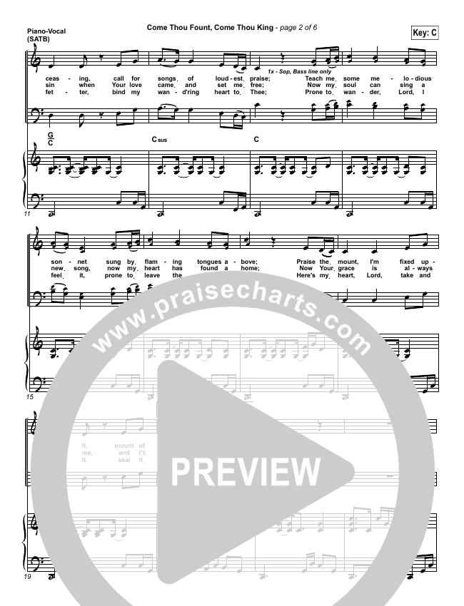 Come Thou Fount Come Thou King Piano/Vocal (SATB) (Gateway Worship)