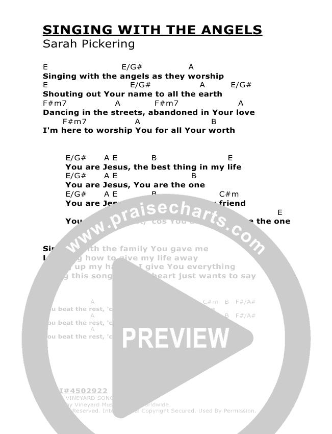 Singing With The Angels Chords - Vineyard UK | PraiseCharts