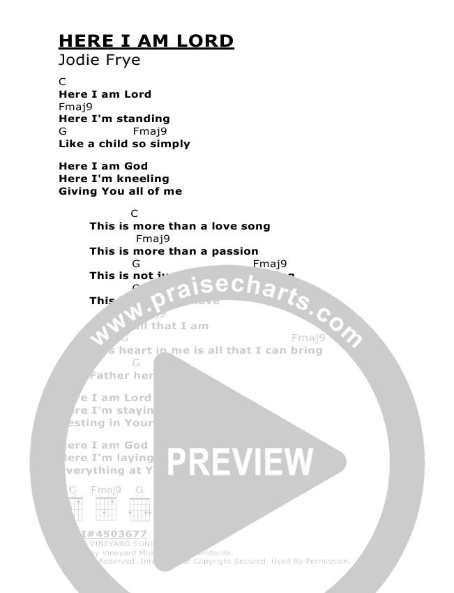 Here I Am Lord Chords - Vineyard UK | PraiseCharts