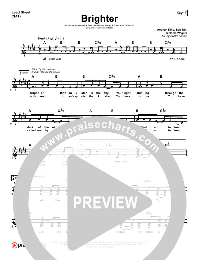 Brighter Lead Sheet - Hillsong Young & Free   PraiseCharts