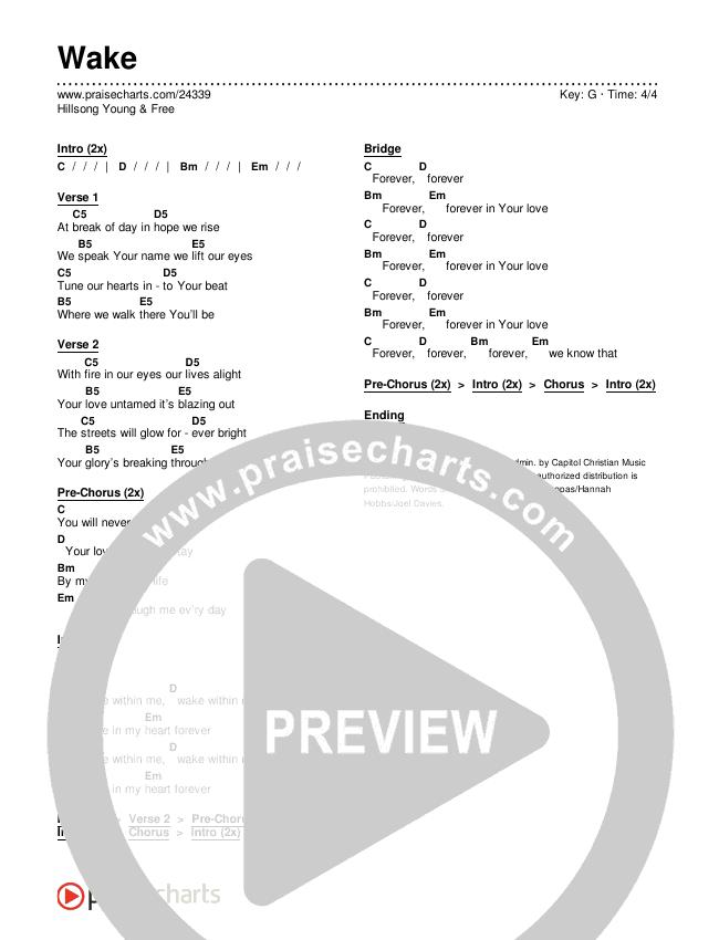 Wake Chords & Lyrics (Hillsong Young & Free)