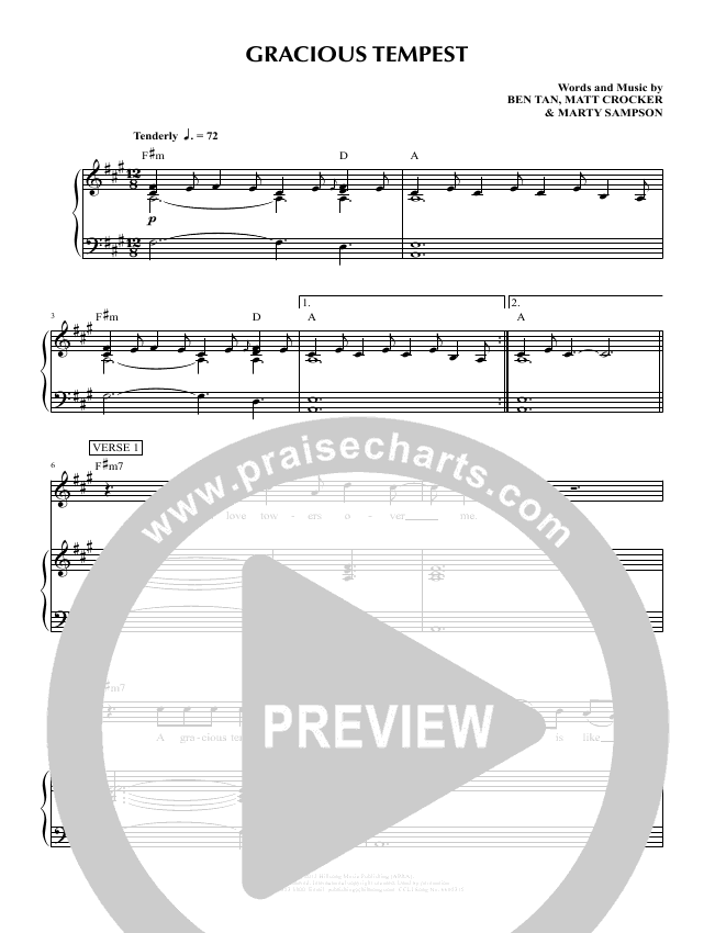Gracious Tempest Lead Sheet & Piano/Vocal - Hillsong Young & Free ...