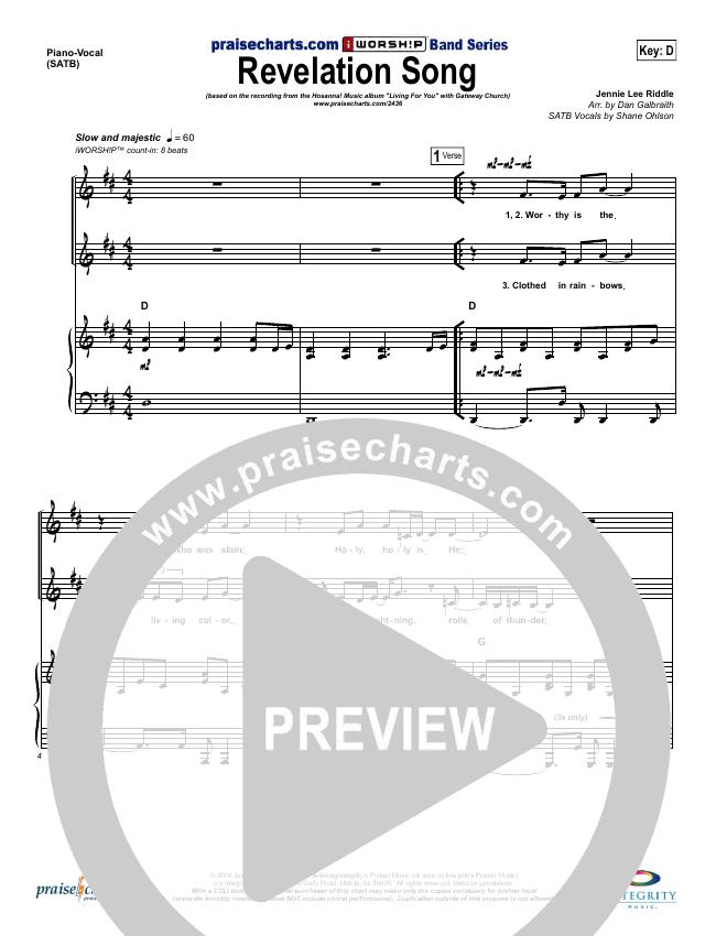 Revelation Song Piano/Vocal (SATB) (Gateway Worship)