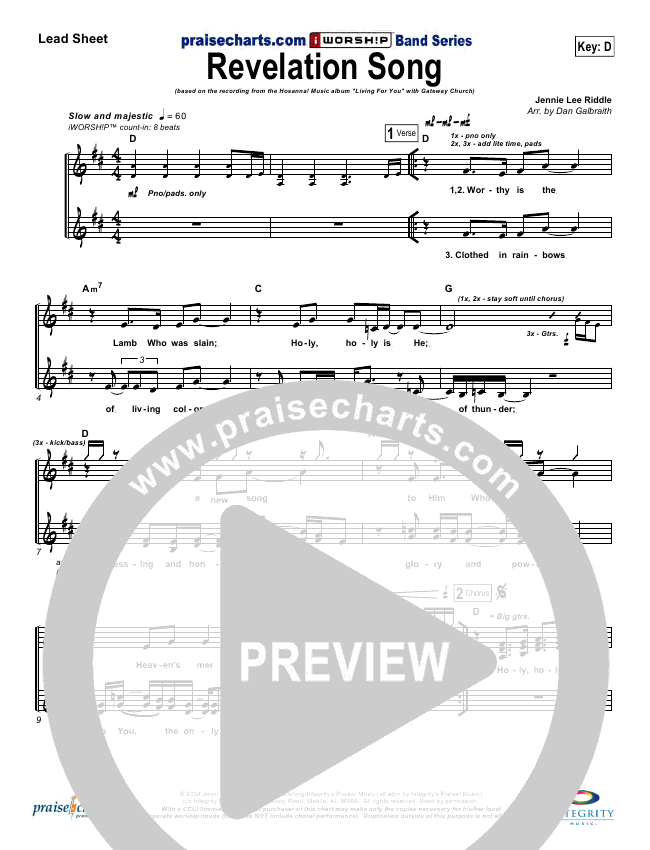 Revelation Song Lead Sheet Pianovocal Gateway Worship
