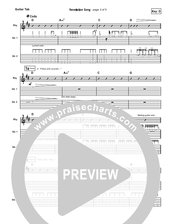 Revelation Song Guitar Tab Gateway Worship Praisecharts
