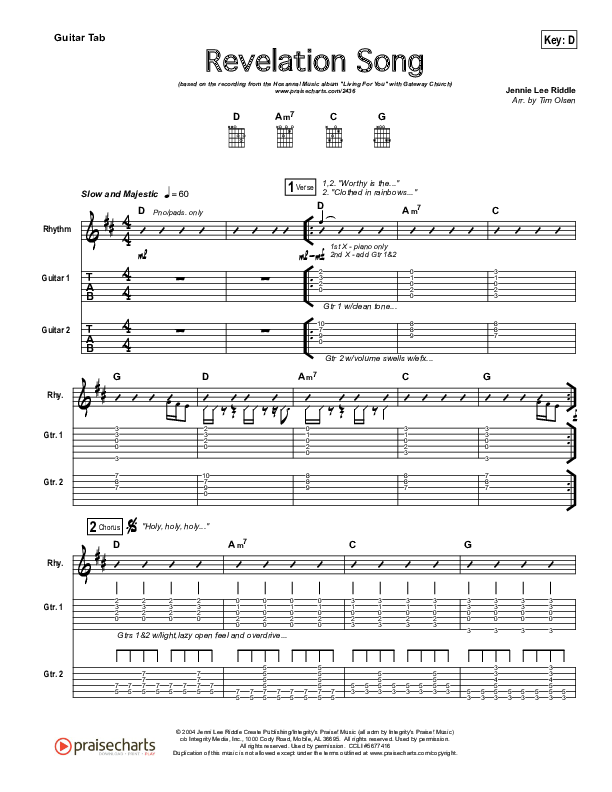 Revelation Song Guitar Tab (Gateway Worship)