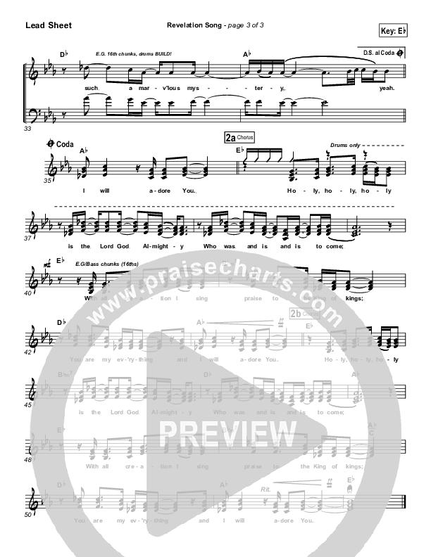 Revelation Song Lead Sheet (SAT) (Gateway Worship)