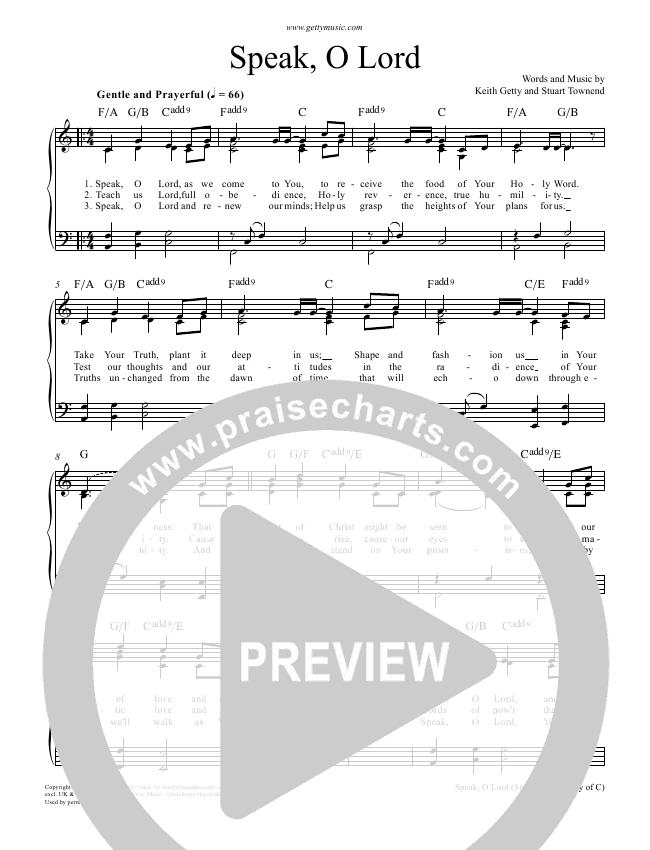 Speak O Lord Piano Sheet (Keith & Kristyn Getty)