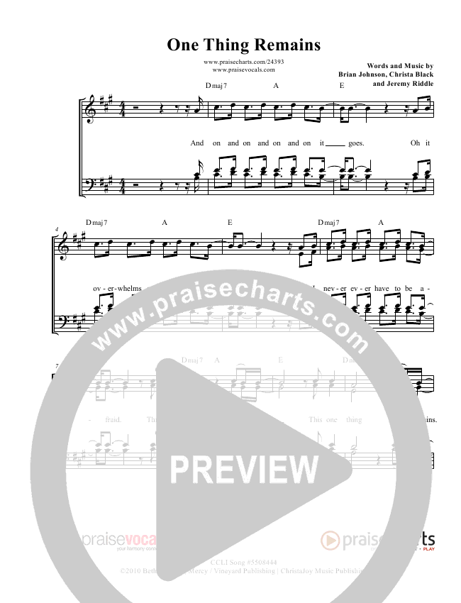 One Thing Remains Lead Sheet (PraiseVocals)