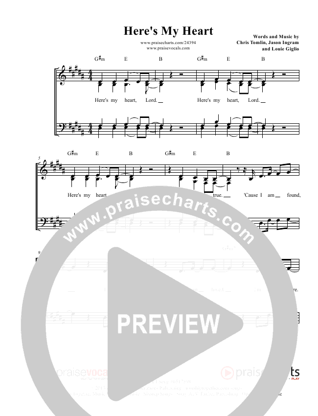 Here's My Heart Lead Sheet (PraiseVocals)