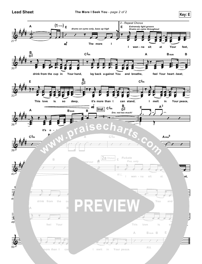 The More I Seek You Lead Sheet & Piano/Vocal - Gateway Worship, Kari ...