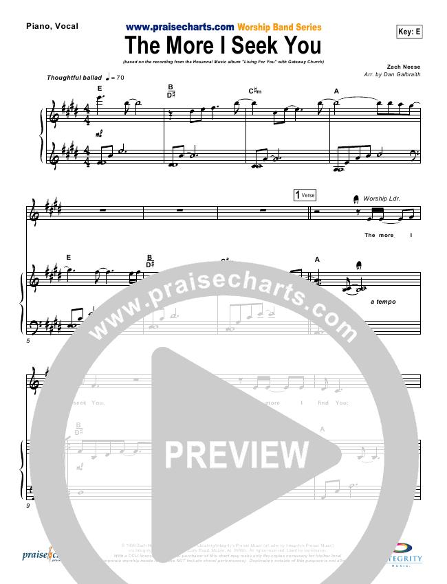 The More I Seek You Lead & Piano/Vocal (Gateway Worship / Kari Jobe)