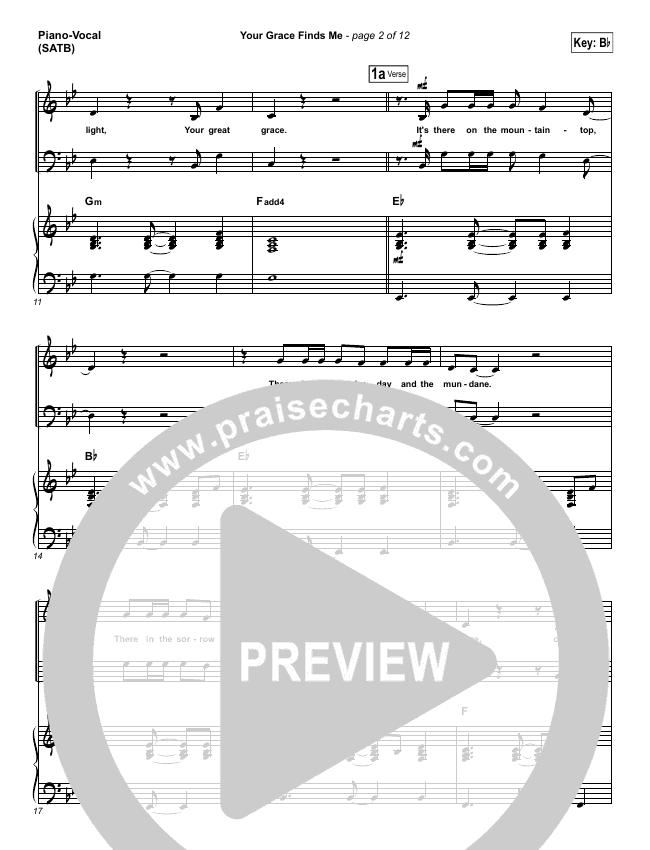 Your Grace Finds Me Piano/Vocal (SATB) (Matt Redman)