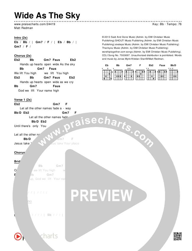 Wide As The Sky Chords & Lyrics (Matt Redman)