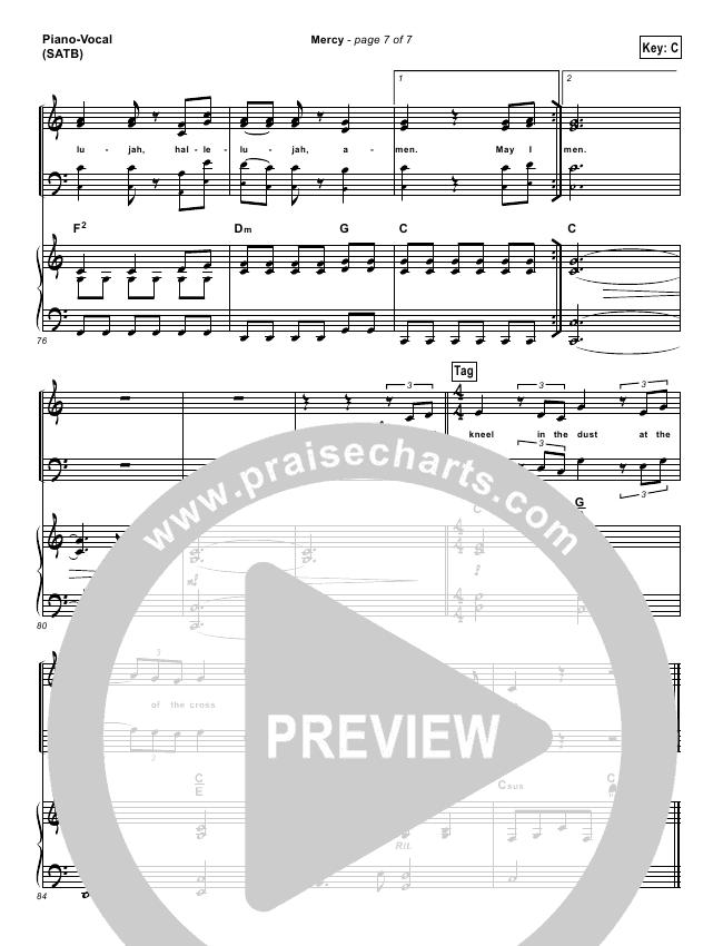 mercy matt redman sheet music pdf
