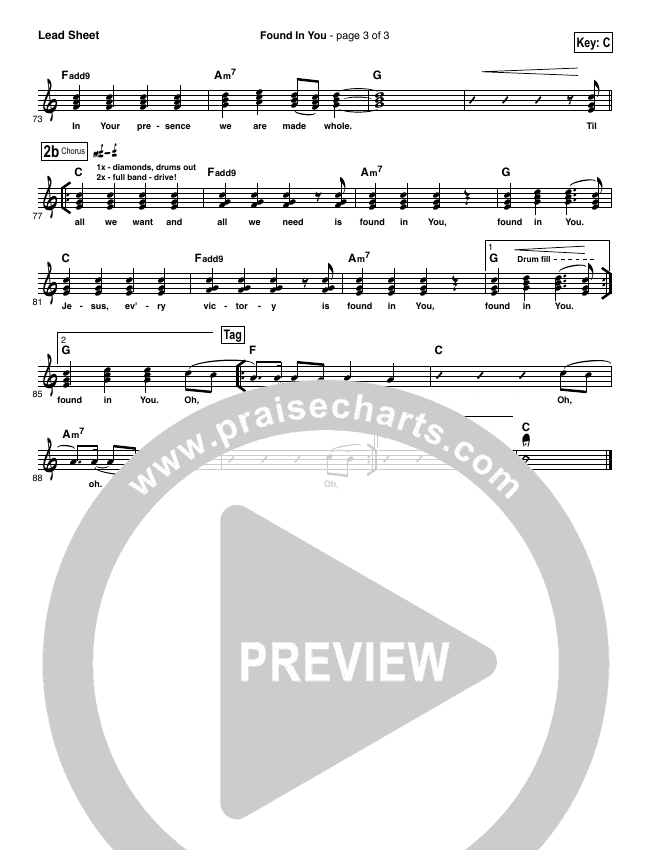 Found In You Lead Sheet (SAT) (Vertical Worship)