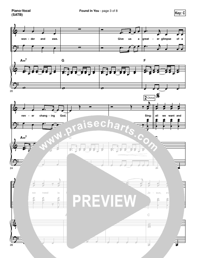 Found In You Piano/Vocal (SATB) (Vertical Worship)