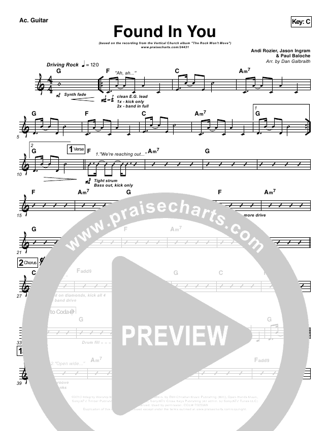 Found In You Rhythm Chart (Vertical Worship)