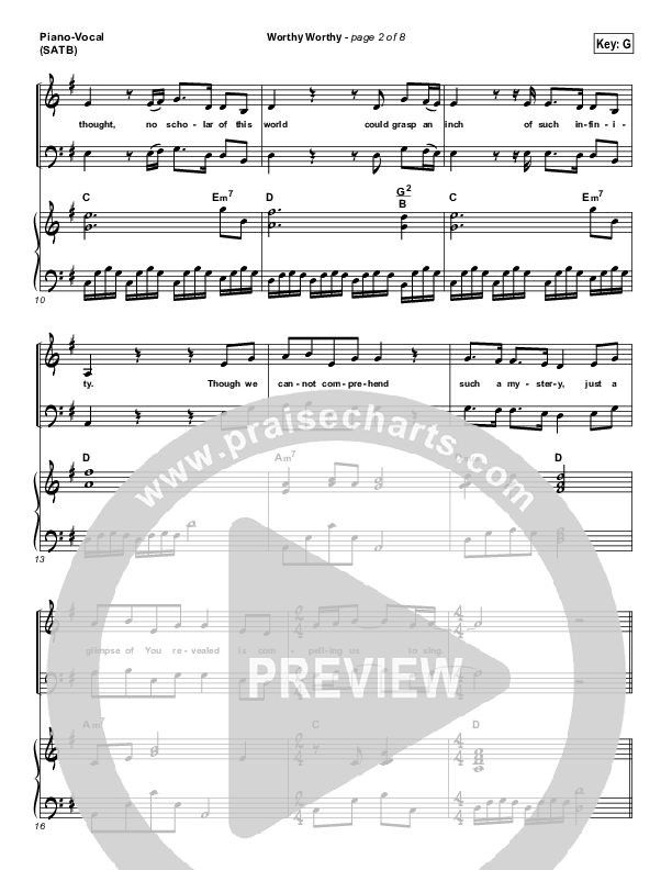 Worthy Worthy Piano/Vocal (SATB) (Vertical Worship)
