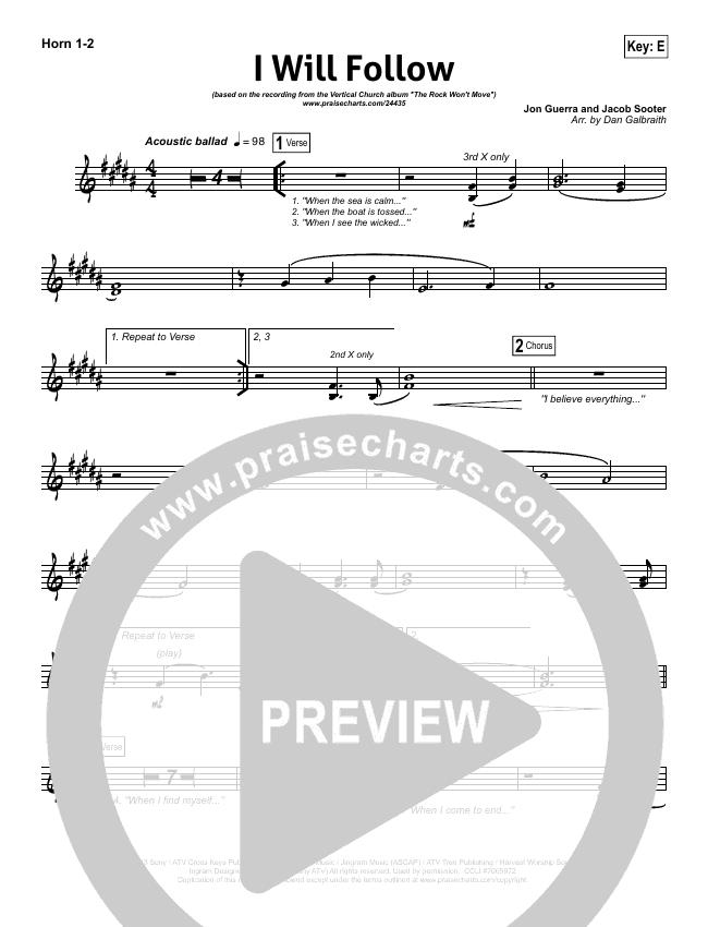 I WIll Follow Brass Pack (Vertical Worship)