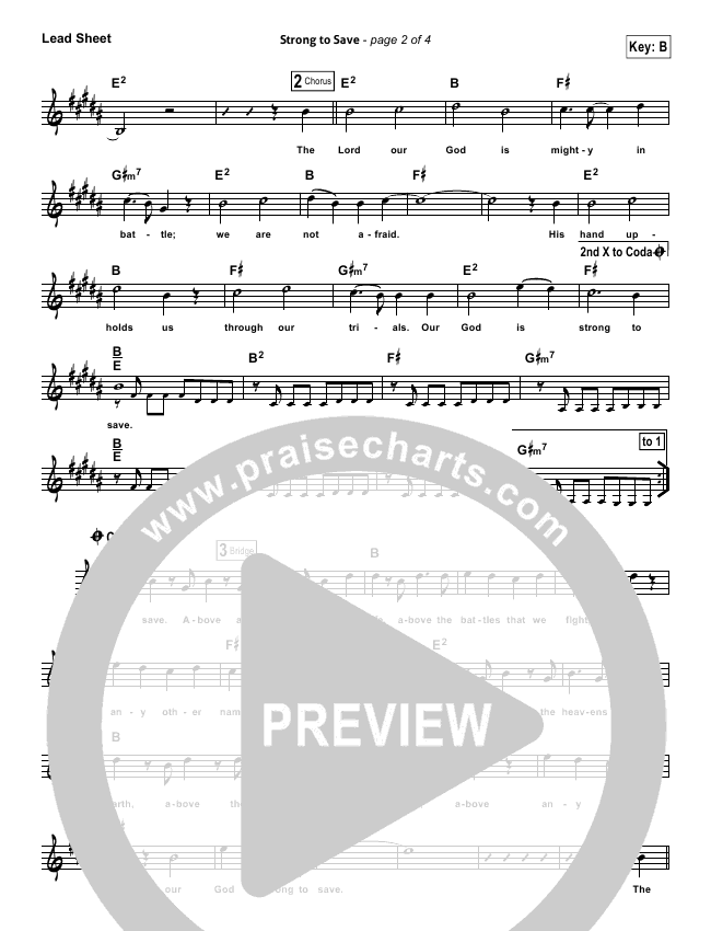 Strong To Save Piano/Vocal (Vertical Worship)