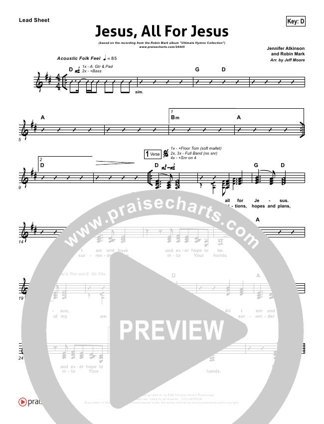 Jesus All For Jesus Lead Sheet Pianovocal Robin Mark Praisecharts