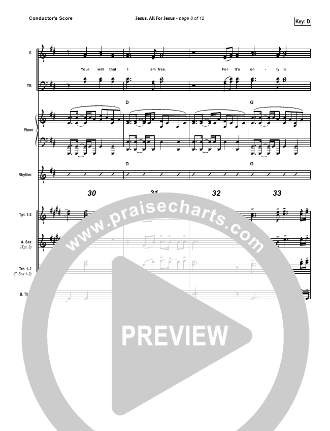Jesus All For Jesus Lead Sheet & Piano/Vocal - Robin Mark   PraiseCharts