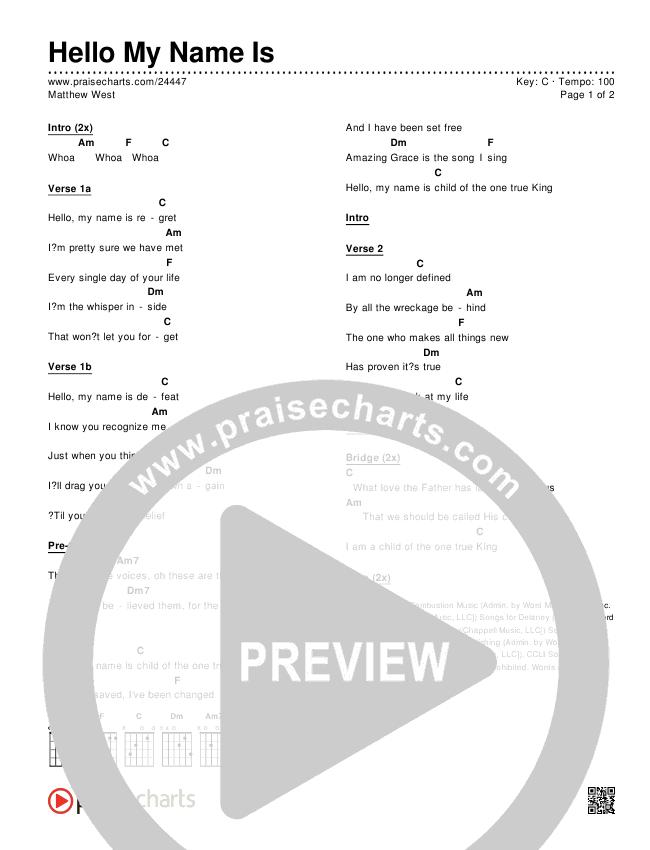 Hello My Name Is Chords Matthew West Praisecharts