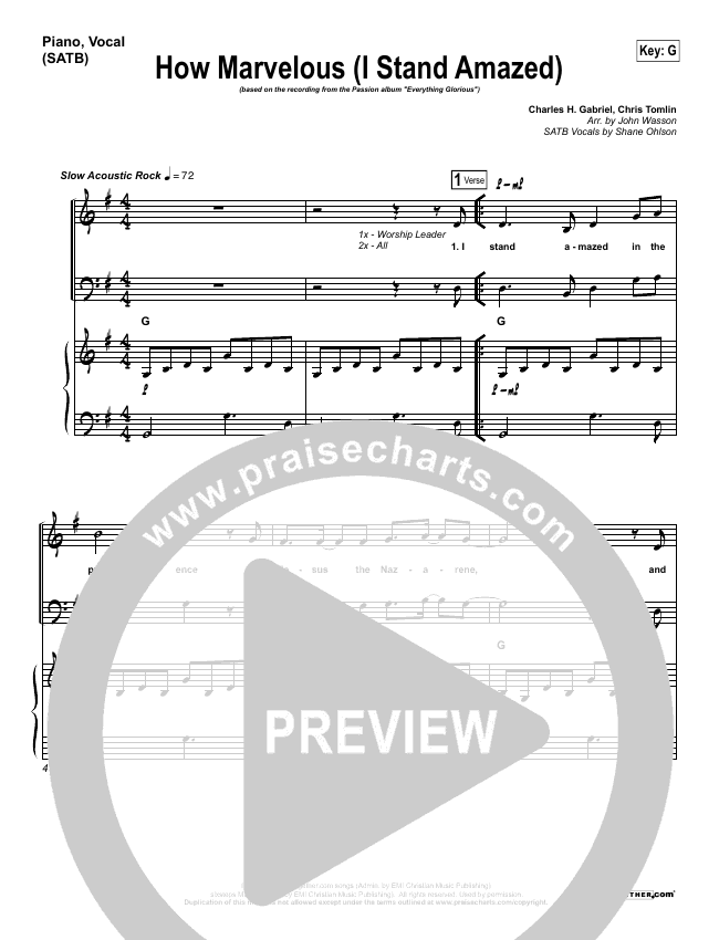 How Marvelous (I Stand Amazed) Piano/Vocal (SATB) (Chris Tomlin / Passion)