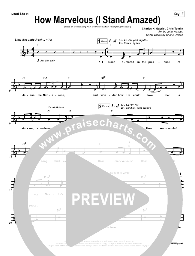 How Marvelous (I Stand Amazed) Lead Sheet & Piano/Vocal - Chris ...