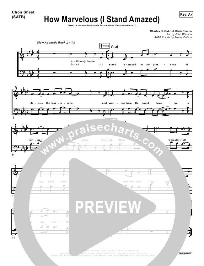 How Marvelous (I Stand Amazed) Choir Sheet (SATB) (Chris Tomlin / Passion)