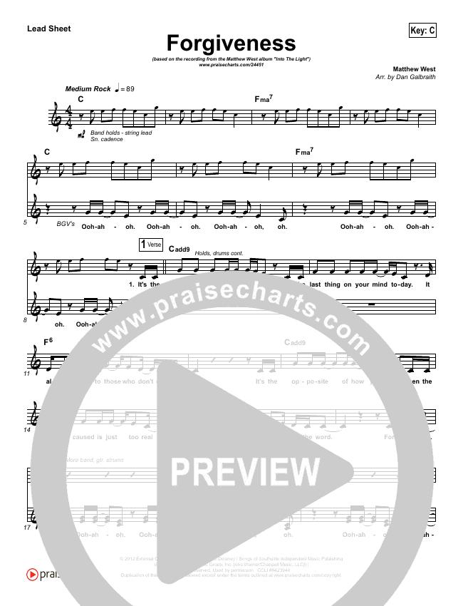 Forgiveness Lead Sheet (SAT) (Matthew West)