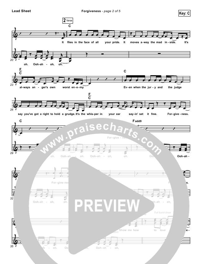 Forgiveness Lead & Piano/Vocal (Matthew West)