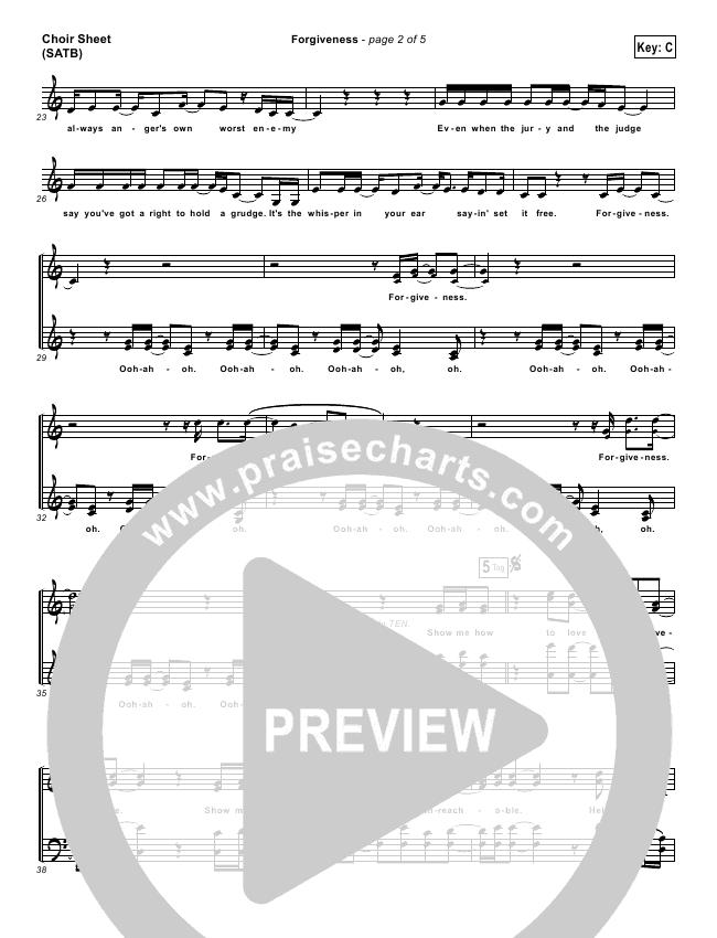 Forgiveness Choir Sheet (SATB) (Matthew West)