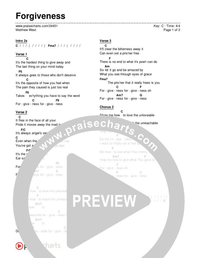 Forgiveness Chords & Lyrics (Matthew West)