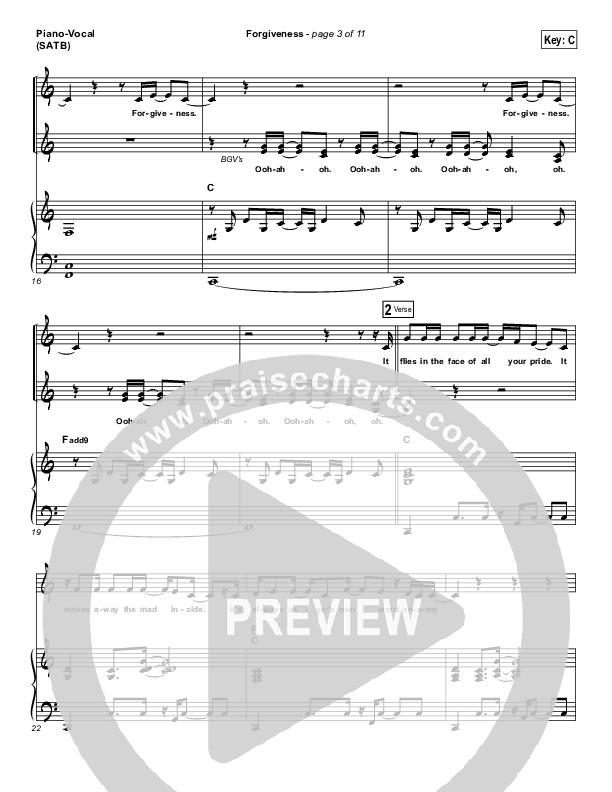 Forgiveness Piano/Vocal (SATB) (Matthew West)