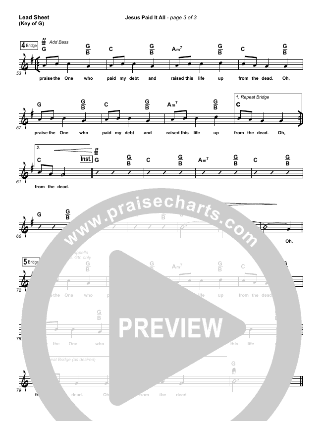 Jesus Paid It All Lead Sheet (Melody) (Kristian Stanfill / Passion)