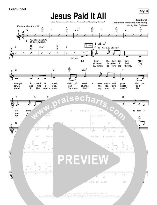 Jesus Paid It All Lead Sheet Pianovocal Kristian Stanfill