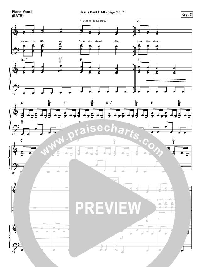 Jesus Paid It All Lead Sheet & Piano/Vocal - Kristian Stanfill ...