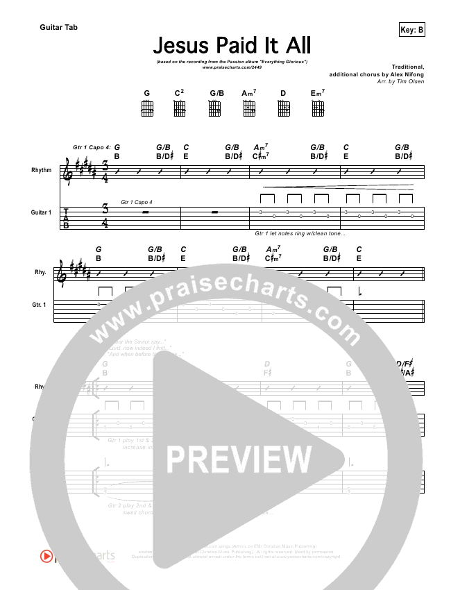 Jesus Paid It All Guitar Tab - Kristian Stanfill, Passion | PraiseCharts