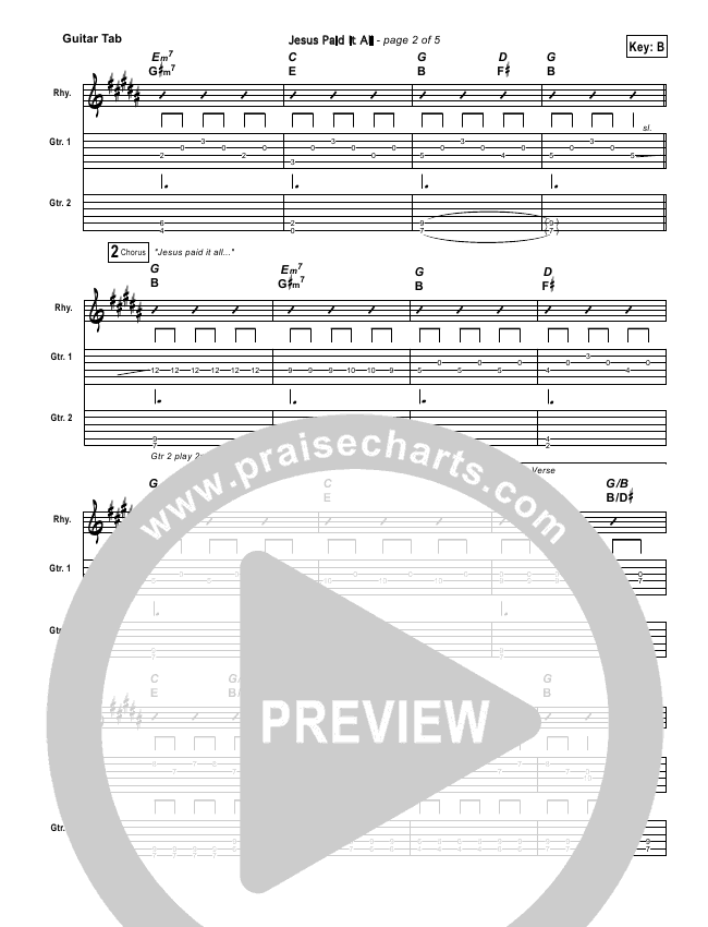 Jesus Paid It All Guitar Tab Kristian Stanfill Passion Praisecharts