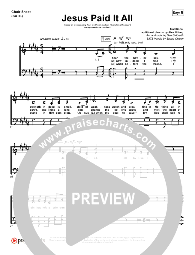 Jesus Paid It All Choir Sheet (SATB) - Kristian Stanfill, Passion ...