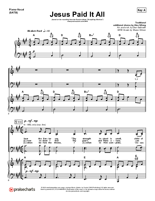 Jesus Paid It All Piano/Vocal (SATB) (Kristian Stanfill / Passion)