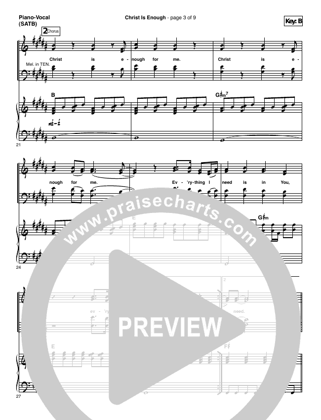 Christ Is Enough Piano/Vocal (SATB) (Hillsong Worship)