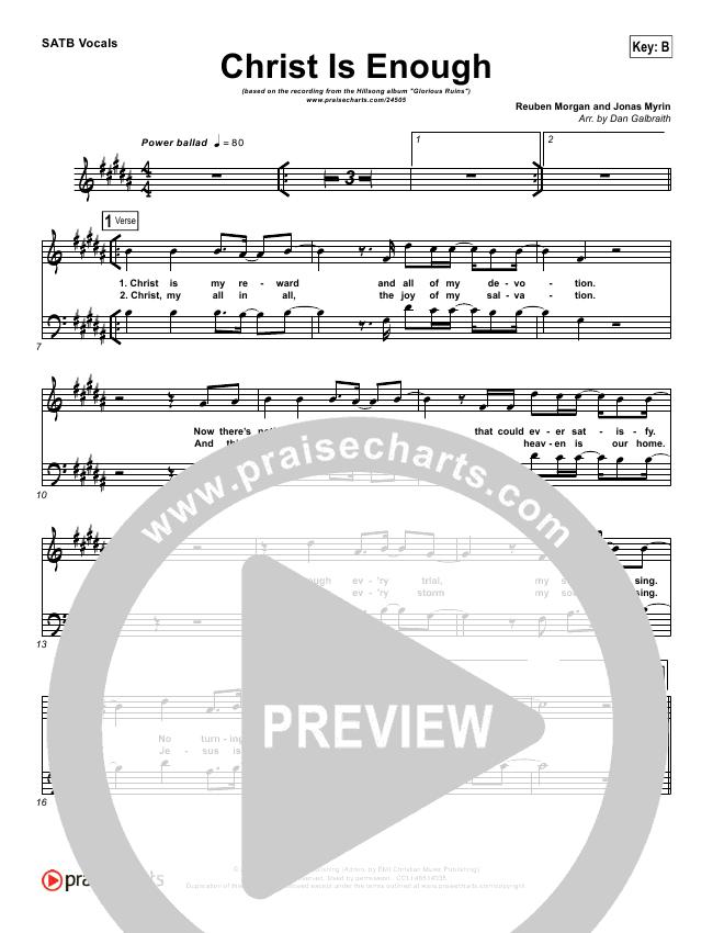 Christ Is Enough Choir Sheet (SATB) - Hillsong Worship | PraiseCharts