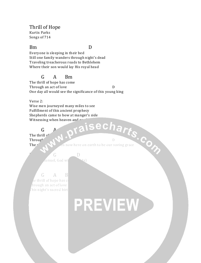 Thrill Of Hope Chords Ncc Worship Praisecharts