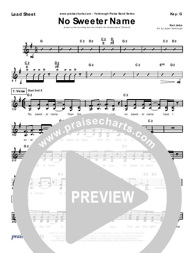 No Sweeter Name Orchestration Kari Jobe Praisecharts