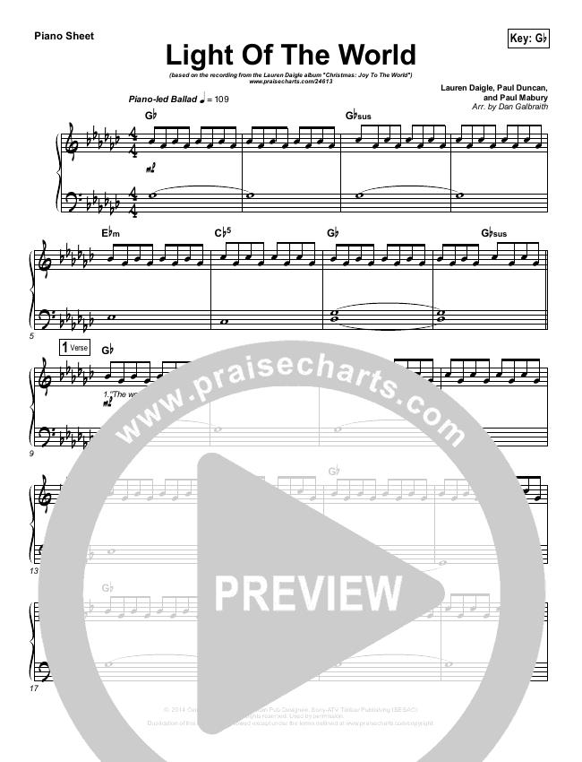 Light Of The World Piano Sheet (Lauren Daigle)